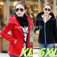 XL-6XL size 2014 winter korean style extra plus size black red casual winter jacket women fleece hoodies free shipping