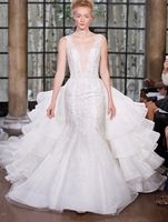 2015 Princess Detachable Wedding Dresses Embroidery Organza Beaded White Or Ivory Wedding Gowns