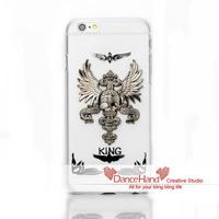 For Apple iPhone 6 6 Plus 5 5S 5C 4S Bling Handmade Metal Zic Alloy Skull Head Wings King Queen Style Case