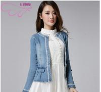 S-XLPlus Size Plus Size Denim Jacket Sequin Jeans long sleeve short women female Denim Jacket Jeans Coat 2015