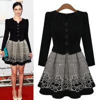 2014 New Women Fall Winter Brand Office Dress Long Sleeve Plus Size Femal Fashion Dresses