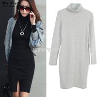 Autumn Winter 2014 New Turtleneck Bodycon Long Sleeve Basic Dress Slim Thin Knitted Elegant OL Women Dress Plus Size 2088