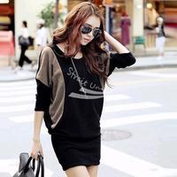 women's fashion Chic crew neck Batwing shirt Dolman long Sleeve Knit Dress free shipping 6260