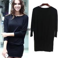 2014 Autumn Loose Plus Size Casual Dress Winter Basic Long Sleeve Black Women Dress Slim Thin Bodycon OL Work Wear Dresses 2089
