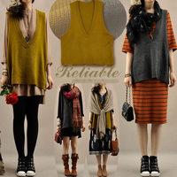 Hot sale women autumn V-neck pullover knitted vest Korean loose sweater vests female 1039