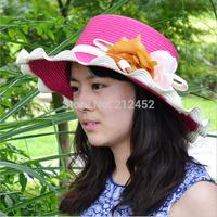 Spring 2015 new Retail Fashion Women Wide Large Brim Flower Summer Beach a Sun hat Straw Hat Flower Cap summer hats for women