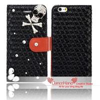 For Apple iPhone 6 6 Plus Bling Handmade Rhinestone Metal Skull Crossing On Pu Leather Flip Wallet Case