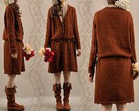 New arrival autumn and winter women long sweater outerwear fashion vintage twist pattern wool cardigan female 1009