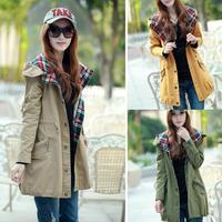 2014 Fashion Autumn Long Women Jacket Casual Slim Puls Size Parkas Hooded  Winter Women Coat 3 Colors
