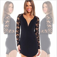 The latest long sleeved lace conjoined irregular summer dress mini bodycon dress