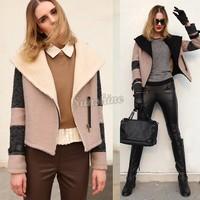 Faux fur jackets For Women New 2014 Winter Patchwork Short Jackets Slim Warm Lamb Lapel Coat Cool Motorcycle Jacket B3