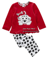 2015 new children's clothing baby & kids pajama sets red brand print dog sleepwear girls spring autumn clothes set
