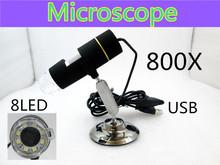 Бесплатная доставка 800X USB цифровой микроскоп 8-LED эндоскопа с программным обеспечением измерения
