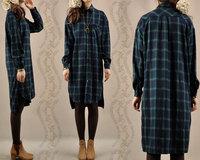 Plus size autumn and winter women split thicken slim dress casual loose plaid long-sleeve dresses female 1034