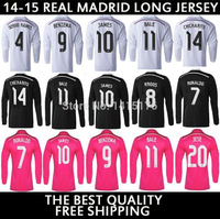 14 15 Real madrid long sleeve jersey pink away 2015 Ronaldo James Real madrid long sleeve soccer jersey