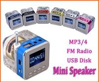 30PCS Wholesale Transparent Mini Portable Speaker with FM SD TF Slot LCD Digital Display  MP3 Music Player U Disk LED Light
