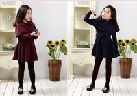 20141029  winter high-quality children's dresses for girls dress princess+coat,girls clothing set  5set/lot for 110-150cm