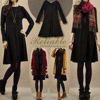 New arrival women's autumn black elegant patchwork basic dress Korean long-sleeve slim medium-long one-piece dress women 1019
