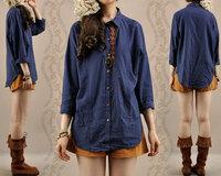 New arrival women autumn bohemia national embroidery shirt fashion jacquard plus size loose long-sleeve blouse female 1003