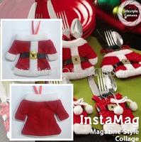 Free Shipping 3 Set Fancy Santa Christmas Decorations Silverware Holders Pockets Dinner Table Decor 4016-606-3