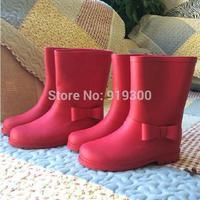 Free Shipping Kids Children Fashion Red Rubber Rain Boots Flat Heels Mid-calf Bow Rainboots Anti-slip Water Shoes #KS1