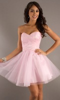 Color Accented Sweetheart Draped Ruffle Open Back Zipper Tulle Women Short Dresses Formal Homecoming Dresses
