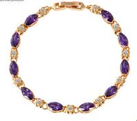 Gold-plated fashion jewelry colored zircon bracelet female gift crystal bracelet