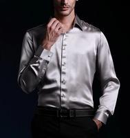 2014 new style  100% real silk Casual shirt men's shirt /luxury  shirts full sleeve / wedding shirt