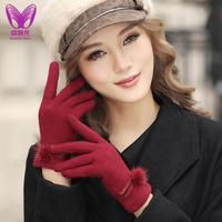 2014 New elegant wool ladies hair bulb upscale warm women gloves