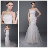 Classy Stunning Mermaid Wedding Dresses Bridal Gown Strapless Tulle Fabric Zipper Back Chapel Train 2014 New