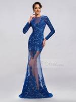 2015 Sexy Royal Blue Long Sleeves Evening Dress Lace Appliques Transparent Dress Party Evening Elegant
