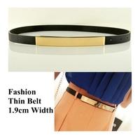 1.9cm Width Thin Metal Plate PU Women's Belts Waist Ladies Belt for Women Dress Ceinture Female Cinturon, 3pcs/lot Wholesale