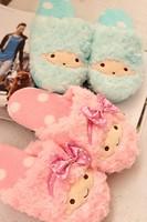 Plush cute 1 pair cartoon sweet Little twin stars winter warm home floor slippers no slip children holiday toy girl gift
