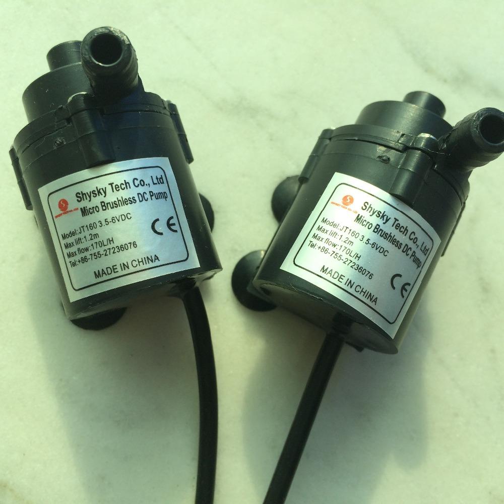 2pcs/ Lot 3.5-6V DC water pump 1.2M 170L/H CPU Cooling CAR Brushless Water Pump IP68 For Aquarium, Fountain, Water Circulating(China (Mainland))