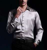 2014 new style  100% real silk Casual shirt men's shirt /luxury  shirts full sleeve / silver shirt