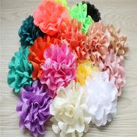 "DHL free shipping 170 pcs/ lots headband chiffon flowers 3"" chiffon eyelet  flowers,hairband flowers   ,flowers hair accessories"