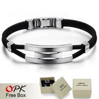 OPK Fashion Men Bracelet Black Trendy Punk Silicone Steel Bracelets Brand Bangles Bracciali Bracelets For Men Man Charms 976