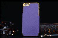 """For iPhone 6 6th 4.7"""" 6 plus 5.5"""" Hybrid Chrome + PU Leather Cross Pattern Hard Back Case Cover With Cheap Price"""