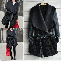 NEW Women Winter Fashion Black Warm Faux Fur PU Sleeve Lapel Coat Jacket Outwear