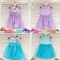 2014 New Summer Frozen Dress Sleeveless Lotus Bow Princess Girls Dresses Purple Blue Girls Dress 5 pcs / lot 1348