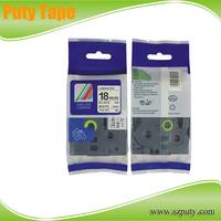 Compatible TZe 241-18mm Black on White  laminated TZ  label tape