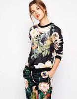 2014 woman fashion casual black floral printing Winter Autumn sweatshirt woman leisure sweater O neck long sleeve free shipping
