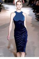 Celebrity Navy Velvet Optical Illusion Patchwork Sleevelesss Midi Bodycon Dress vestido de festa Sundress 2014