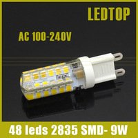 1x G9 LED 9W Silicone Corn Bulb droplight SMD 2835 48 leds Replace 30W halogen lamp candle light 360 Beam Angle AC 100-240V