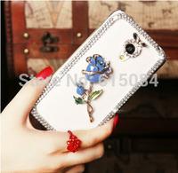 Shiny Case Rehinstone Crown Blue Rose Flower Lip Bow case For Motorola Moto G2 G 2nd Gen XT1068 XT1069 3D Mobile Phone cover