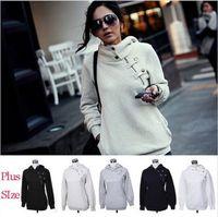oversize Women Hooded Hoodie Sweatshirt Inclined oblique Zip&Button Tops Sweats Sportswear winter autumn spring causal novelty
