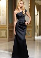One Shoulder Black Ruffle Sheath Column Appliques Floor Length Satin Formal Evening Dresses