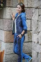 Plus size M-XXL New 2015 Autumn fashion Women Clothes Sport swear Sports Suit Women Cowboy Clothes Clothing Set Suit For Women