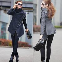 New Fashion 2014 Autumn Cloak Asym Women Wool Blends Plus Size Europe Winter Women Jacket
