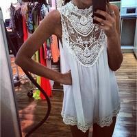 Aliexpress supply 2014 new European and American sleeveless Lace Mini Dress Sexy hollow bodycon dress